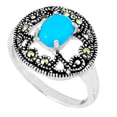 1.49cts blue sleeping beauty turquoise marcasite 925 silver ring size 6.5 c17652