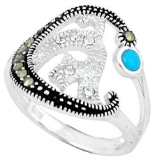 1.06cts blue sleeping beauty turquoise marcasite 925 silver ring size 6.5 c17640