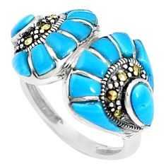 6.83cts blue sleeping beauty turquoise marcasite 925 silver ring size 6.5 c16120
