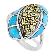 5.52cts blue sleeping beauty turquoise marcasite 925 silver ring size 6.5 c16392