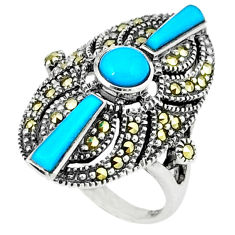 3.85cts blue sleeping beauty turquoise marcasite 925 silver ring size 6 c16411