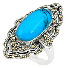 Sleeping beauty turquoise marcasite 925 silver solitaire ring size 7 c17499