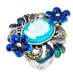 Blue sleeping beauty turquoise pearl 925 silver lady face ring size 5.5 c16307