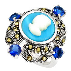 Blue sleeping beauty turquoise pearl lady face 925 silver ring size 6 c16043