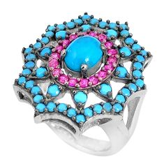 5.37cts sleeping beauty turquoise ruby (lab) 925 silver ring size 5.5 c23460