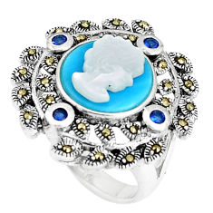 Sleeping beauty turquoise sapphire (lab) silver lady face ring size 7 c16046
