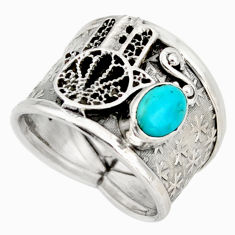 Sleeping beauty turquoise silver hand of god hamsa solitaire ring size 7 d45909