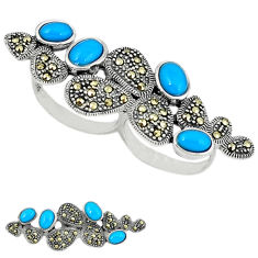 Blue sleeping beauty turquoise 925 silver two finger couple ring size 5.5 c18617