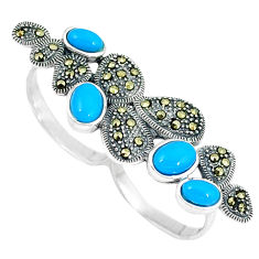 Blue sleeping beauty turquoise 925 silver two finger couple ring size 7.5 c16010