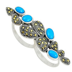 Blue sleeping beauty turquoise 925 silver two finger couple ring size 5.5 c16016