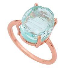 5.15cts solitaire aqua aquamarine raw handmade 14k rose gold ring size 6 t33238
