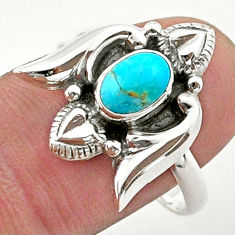 1.57cts solitaire arizona mohave turquoise 925 silver heart ring size 9 t40731