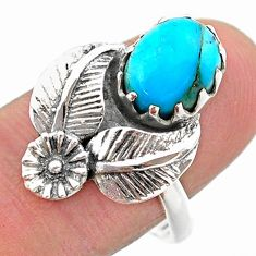 3.40cts solitaire arizona mohave turquoise silver flower ring size 8.5 t25187