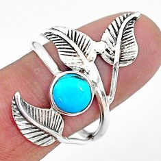 2.41cts solitaire arizona mohave turquoise silver leaf charm ring size 9 t6374