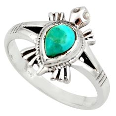1.81cts solitaire arizona mohave turquoise silver tortoise ring size 7.5 r40642
