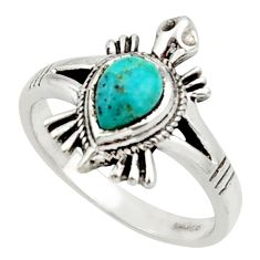 1.56cts solitaire arizona mohave turquoise silver tortoise ring size 7 r40641