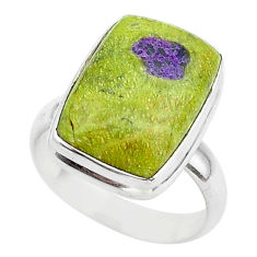 9.05cts solitaire atlantisite stichtite-serpentine 925 silver ring size 7 t39422