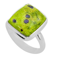 8.77cts solitaire atlantisite stichtite-serpentine 925 silver ring size 9 t39042