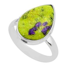 11.66cts solitaire atlantisite stichtite-serpentine silver ring size 10 t39033