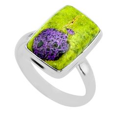 12.07cts solitaire atlantisite stichtite-serpentine silver ring size 10 t39043