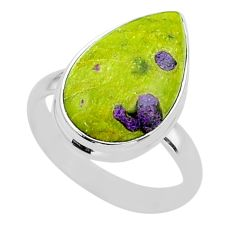 12.03cts solitaire atlantisite stichtite-serpentine silver ring size 10 t39052