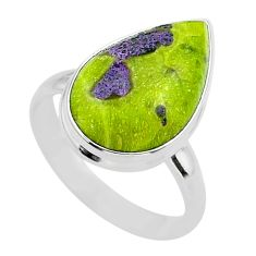 11.95cts solitaire atlantisite stichtite-serpentine silver ring size 10 t39053