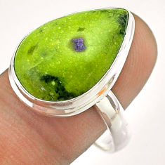 13.66cts solitaire atlantisite stichtite-serpentine silver ring size 10 t54342