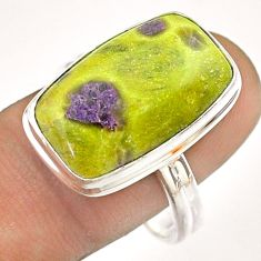 14.12cts solitaire atlantisite stichtite-serpentine silver ring size 10 t54348