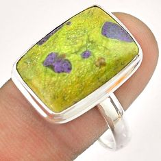 13.22cts solitaire atlantisite stichtite-serpentine silver ring size 11 t54352