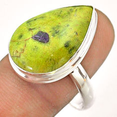 14.90cts solitaire atlantisite stichtite-serpentine silver ring size 11 t54356