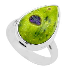 10.78cts solitaire atlantisite stichtite-serpentine silver ring size 6 t39027