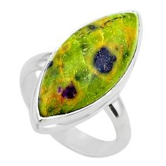 13.09cts solitaire atlantisite stichtite-serpentine silver ring size 6 t39050