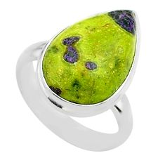 10.31cts solitaire atlantisite stichtite-serpentine silver ring size 6 t39055