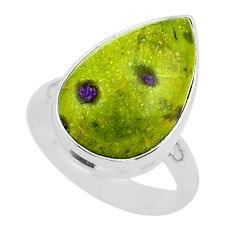 12.06cts solitaire atlantisite stichtite-serpentine silver ring size 7 t39028