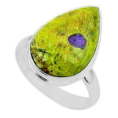11.23cts solitaire atlantisite stichtite-serpentine silver ring size 8 t39026