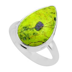 10.29cts solitaire atlantisite stichtite-serpentine silver ring size 8 t39031