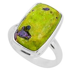 12.03cts solitaire atlantisite stichtite-serpentine silver ring size 8 t39036