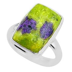 11.66cts solitaire atlantisite stichtite-serpentine silver ring size 8 t39039