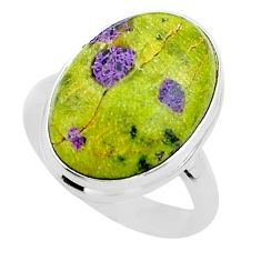 13.27cts solitaire atlantisite stichtite-serpentine silver ring size 8 t39041