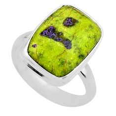 11.23cts solitaire atlantisite stichtite-serpentine silver ring size 8 t39044