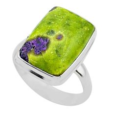 11.66cts solitaire atlantisite stichtite-serpentine silver ring size 8 t39045