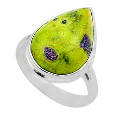 12.34cts solitaire atlantisite stichtite-serpentine silver ring size 8 t39057