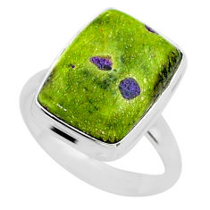 12.07cts solitaire atlantisite stichtite-serpentine silver ring size 9 t39032