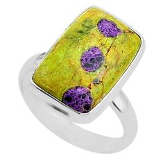 12.03cts solitaire atlantisite stichtite-serpentine silver ring size 9 t39037
