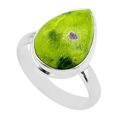 10.80cts solitaire atlantisite stichtite-serpentine silver ring size 9 t39054