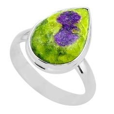 10.37cts solitaire atlantisite stichtite-serpentine silver ring size 9 t39056