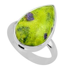 12.96cts solitaire atlantisite stichtite-serpentine silver ring size 9 t39059
