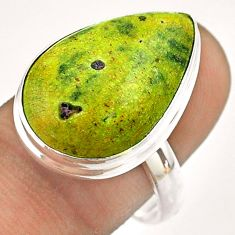 14.26cts solitaire atlantisite stichtite-serpentine silver ring size 9 t54349