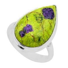 13.24cts solitaire atlantisite stichtite-serpentine silver ring size 7.5 t39029