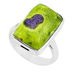 11.66cts solitaire atlantisite stichtite-serpentine silver ring size 6.5 t39035